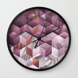 Smooth pink/violet gradient cubes Wall Clock
