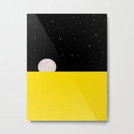 Black night with stars, moon, and yellow sea Metal Print