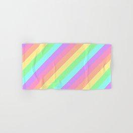 Pastel Rainbow Diagonal Stripes Hand & Bath Towel