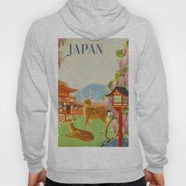 Vintage Mid Century Modern Japan Travel Poster Deer Red Pagoda Wisteria Garden Hoody