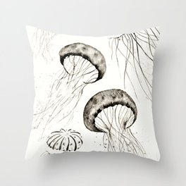 jelly fishes black and white Throw Pillow