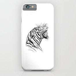 Angry tiger head drawing detailed tiger gifts iPhone Case