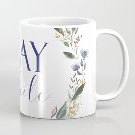 Stay Awhile Floral Crest Coffee Mug