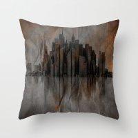 metropolis Throw Pillows featuring Metropolis by Robin Curtiss