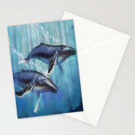 Abstract Colorful Whales  painting  Stationery Cards