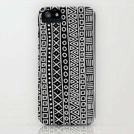 Black white hand painted geometrical aztec pattern iPhone Case
