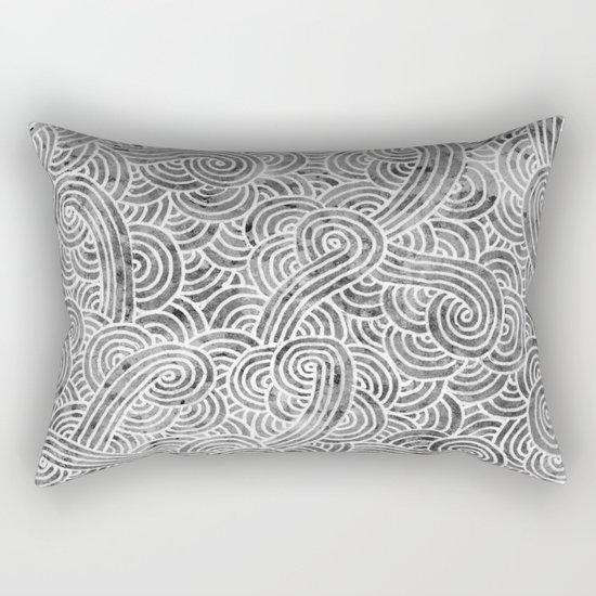 Grey and white swirls doodles Rectangular Pillow