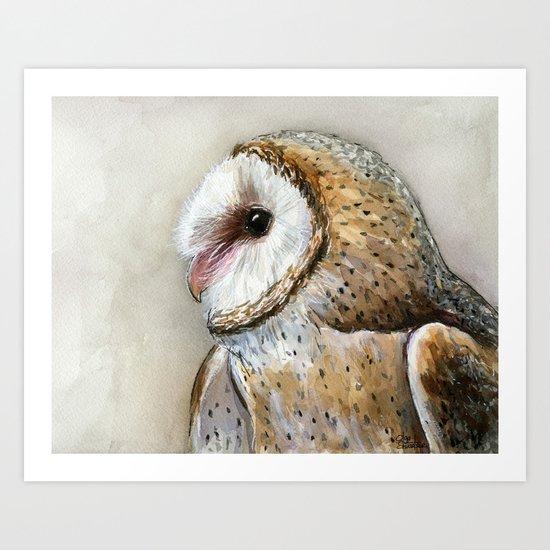 Barn Owl Watercolor | Birds Of Prey Wild Animals Owls Art Print