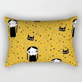 goth girl with her cat Rectangular Pillow