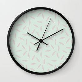 Pillow Fight, Rose on Mint Wall Clock