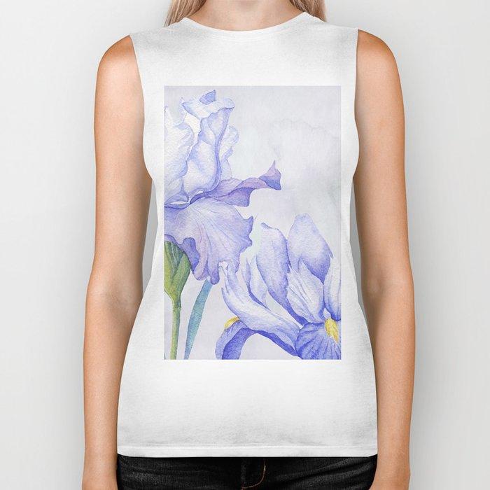 Watercolor Iris Biker Tank