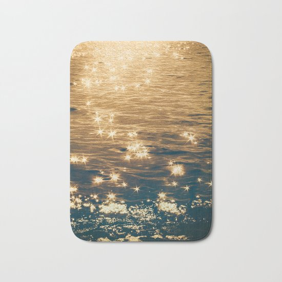 Sparkling Ocean in Gold and Navy Blue Bath Mat