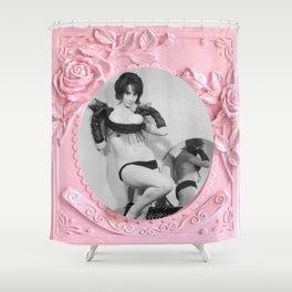 Femme Fatale - Pin Up - Pastel Pink Frame - Roses  Shower Curtain