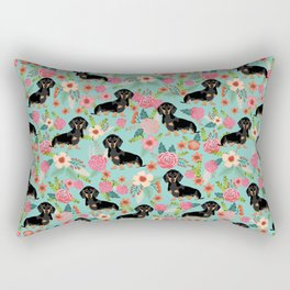 Doxie Florals - vintage doxie and florals gift gifts for dog lovers, dachshund decor, black and tan Rectangular Pillow