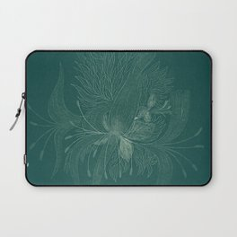 unusual flowers on an emerald background Laptop Sleeve