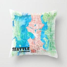 Seattle Washington USA Clean Iconic City Map Throw Pillow
