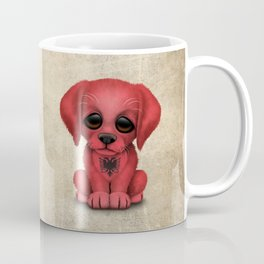 Cute Puppy Dog with flag of Albania Coffee Mug