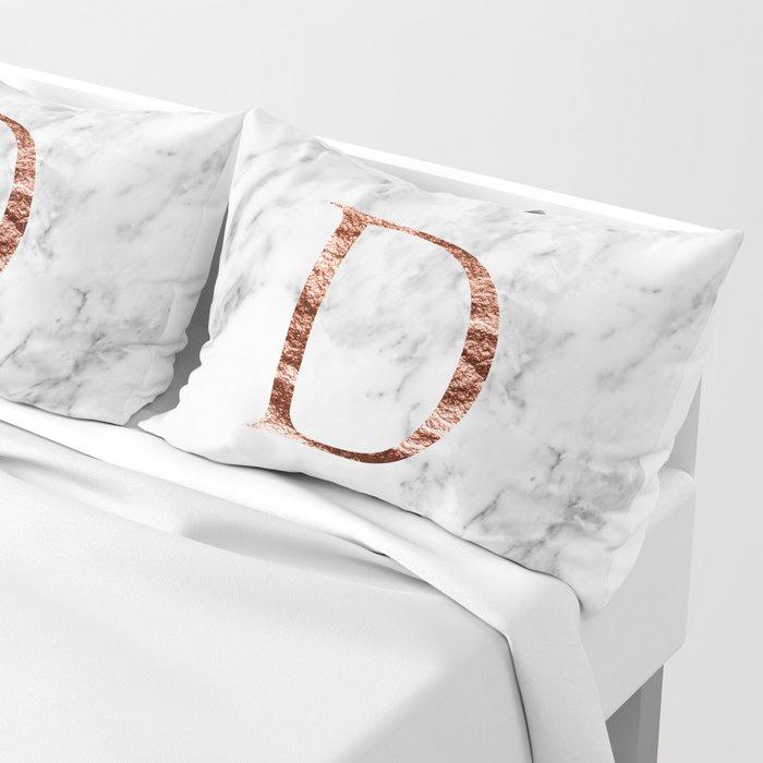 Monogram rose gold marble D Pillow Sham