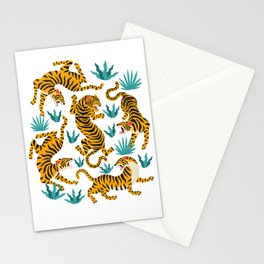 Cute tiger dance in the tropical forest hand drawn illustration Stationery Cards