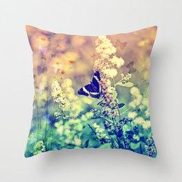 Swallowtail Butterfly Fantasy Garden Teal and Orange Throw Pillow
