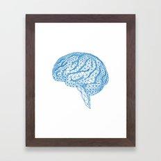 blue human brain Framed Art Print