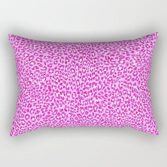 Light Pink Glitter Cheetah Print Rectangular Pillow