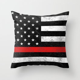 Thin Red Line Throw Pillow