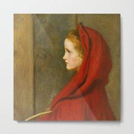 """John Everett Millais """"Red Riding Hood (A Portrait of Effie Millais, the artist's daughter)"""" Metal Print"""