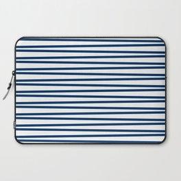 Dark blue and white thin horizontal stripes Laptop Sleeve