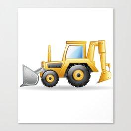 Yellow Excavating Tractor Icon Canvas Print