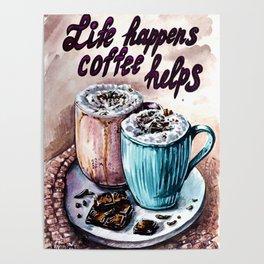 Coffee watercolor art Poster
