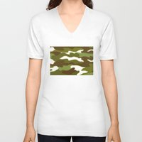 camo V-neck T-shirts featuring CAMO by Bruce Stanfield
