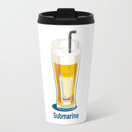 funny t-shirt cocktail submarine vodka in cup of beer Travel Mug