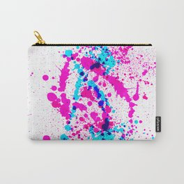 Energetic Expressive Hot Pink Paint Splatter Carry-All Pouch