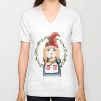 gnome V-neck T-shirts featuring Female Gnome by Fercute