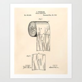 Toilet Paper Roll 1891 Patent Art Illustration Oldpaper Art Print