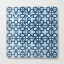 Blue & White Floral Tile Pattern Metal Print