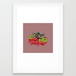 Baby Owls on a Branch Framed Art Print