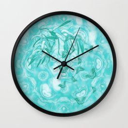 Abstract butterflies in teal landscape Wall Clock