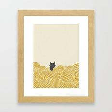 Cat and Yarn Framed Art Print