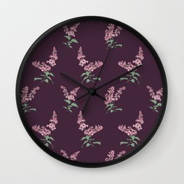 Lilac Flowers Spring Pattern Wall Clock