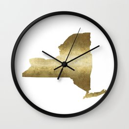 new york gold foil state map print niece ny state Wall Clock