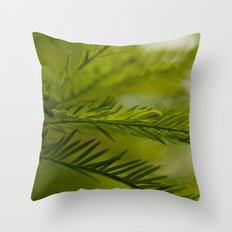 Delicate green fronds Throw Pillow