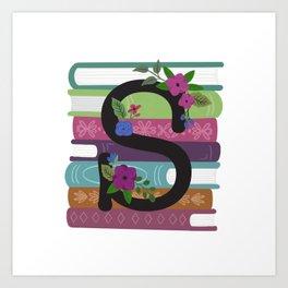 Bookish Monogram Collection S Art Print