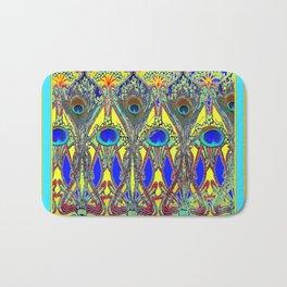 Decorative Blue Peacock Art Nouveau Themed Design Bath Mat