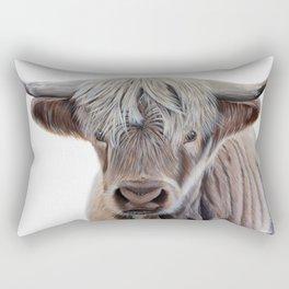Highland Cow Acrylic Painting Rectangular Pillow