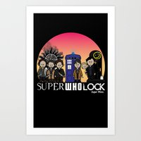 superwholock Art Prints featuring Super Who Lock by RooDesign