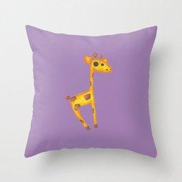 Skipping Giraffe Throw Pillow