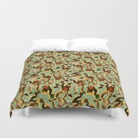 swimming Duvet Covers featuring Swimming by Boiling Point Press