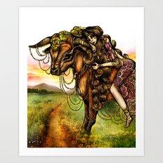Astrology Illustration Series-Taurus Art Print